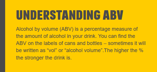 Understanding ABV - Alcohol by volume (ABV) is a percentage measure of the amount of alcohol in your drink. The higher the percentage the stronger the drink is.