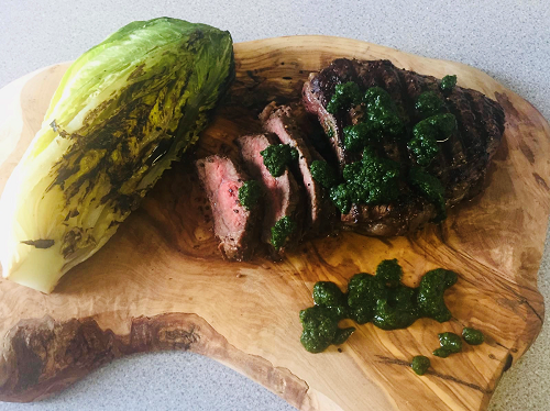 Beef with herb sauce