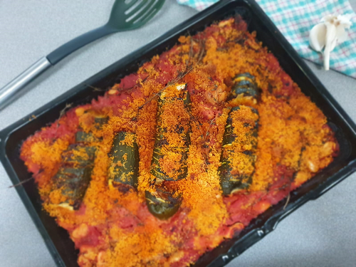 Courgette harrisa bake