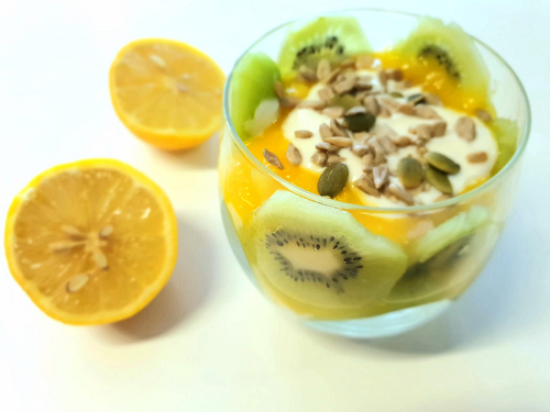 Kiwi and mango parfait