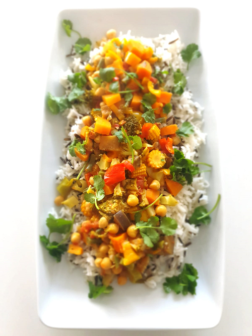 Mixed vegetable korma with wild rice