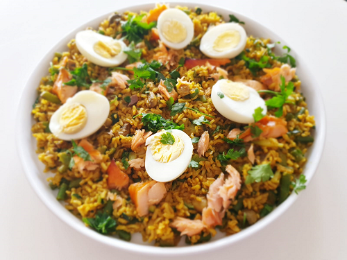 Salmon and egg kedgeree